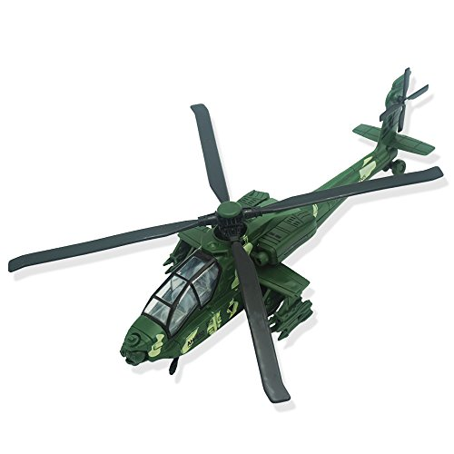 CORPER TOYS Army Helicopter Diecast Military Attack Plane with Lights and Sounds Pullback Toy for Kids Boys (Green) - Helicopter Diecast Toy