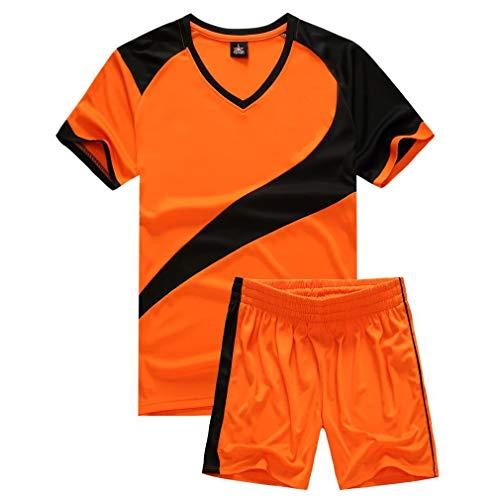 yingfeg bb Soccer Uniforms for Men Sports Jersey and Shorts Set Short Sleeve Shirts Orange Size L (Uniform Soccer Team)