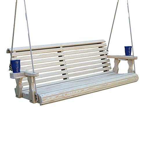 CAF Amish Heavy Duty 800 Lb Roll Back Treated Porch Swing with Hanging Ropes and Cupholders (5 Foot, -