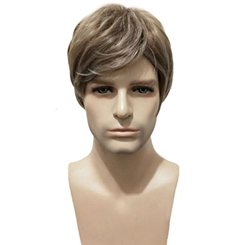 BERON Men Wigs Short Straight Mix Ash Blonde Synthetic Wigs Come with Wig Cap (Mix Ash Blonde) ()