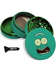 Pickle Rick Herb Grinder - SOFT TOUCH Matte Smooth 4 Piece Grinder For Herb & Spice With BONUS Scraper - Gifts - 2.2 Inches