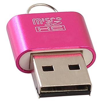 TOOGOO Adaptador Lector de Tarjetas de Memoria portatil USB 2.0 DE Aluminio para Tarjeta Micro- Adaptador Lector de Tarjetas TF Negro