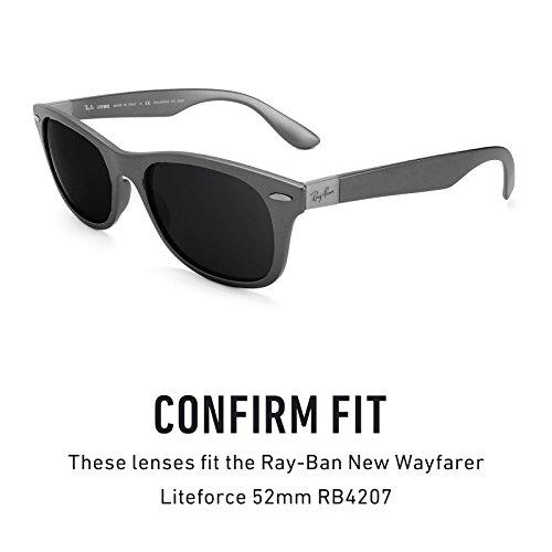 Verres de rechange pour Ray Ban New Wayfarer Liteforce 52mm RB4207 — Plusieurs options Elite Adapt Gris photochromique