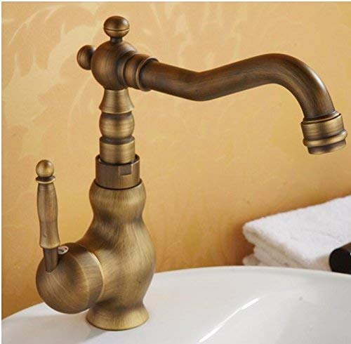 European Retro Style Washbasin Hot And Cold Single Hole Increase High Copper Sink Taps