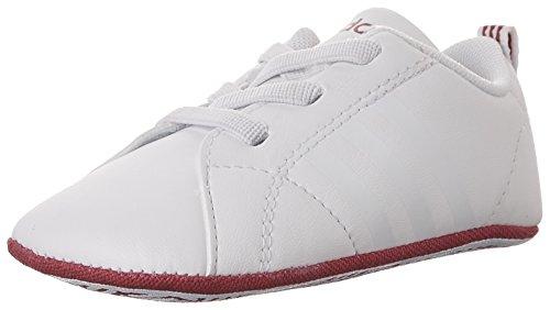 (adidas Girls' VS Advantage Crib Sneaker, White/White/Bold Pink, 3 Medium US Infant)