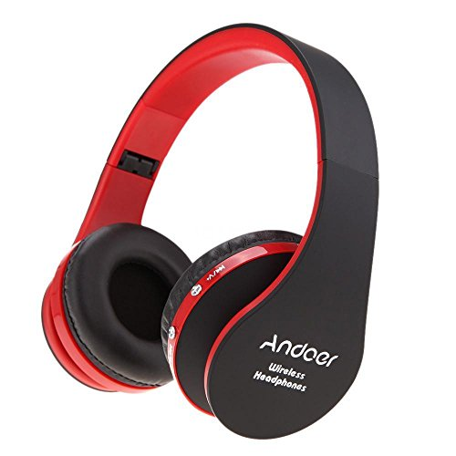 Foldable Wireless Stereo Bluetooth Headphone Earphone Headset For iPhone Samsung - BLACK/RED