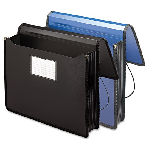 Wholesale CASE of 15 - Smead Expanding Wallets w/ Elastic Cord -Wallets, Expand to 5-1/4'',Lgl, Large Flap W/Elastic Cord,BK