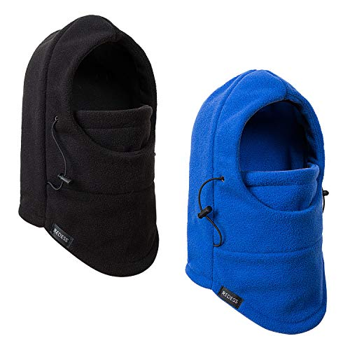 REDESS Kids Winter Windproof Hat, Unisex Children Heavyweight Balaclava, Ski Mask with Thick Warm Fleece Face Cover for Kids ?Black&Blue?