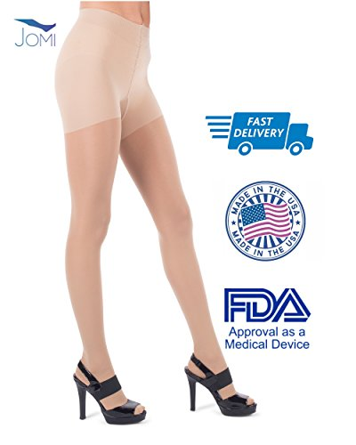 Jomi Compression Pantyhose Women Collection, 30-40mmHg Sheer Closed Toe 376 (Large, Natural)