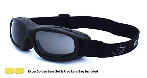 Guard-Dogs, Aggressive Eyewear  Evader 1 Matte Black Smoke/Golden w/FogStopper 2 Lens Set