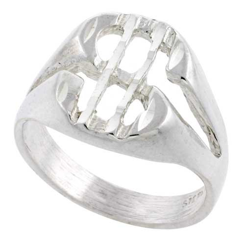 Sterling Silver Dollar Sign Signet Ring Oval Shape Diamond Cut Finish 9/16 inch wide, size 12 Diamond Shape Signet Ring