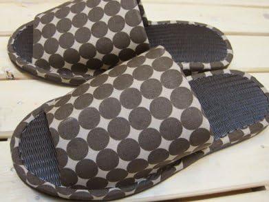 炭を使った畳調スリッパ モダンサークル ブラウン/メンズサイズ(~27cm程度まで)