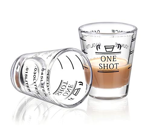 Shot Glasses Measuring cup Liquid Heavy Glass Wine Glass Espresso Shot Glass 1.5OZ/45ML (2 - Glass Ounce Shot 1.5