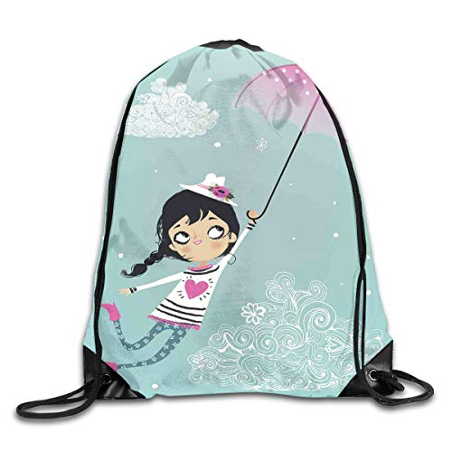 Drawstring Backpacks Bags,Flying Girl With A Pink Umbrella And A Floral Hat Doodle Style Curly Cloud Motifs,5 Liter Capacity,Adjustable ()