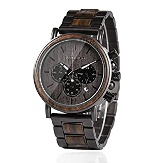 BOBO BIRD Mens Wooden Watches Business Casual Wristwatches Stylish Ebony Wood & Stainless Steel Combined Chronograph with Wooden Box (Grey)