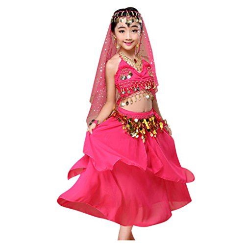 Belly Dancing Costumes For Little Girls (Baby Dance Dresses, Inkach Kids Girls India Belly Dance Outfit Costume Top+Skirt Set Clothing (XS, Hot Pink))