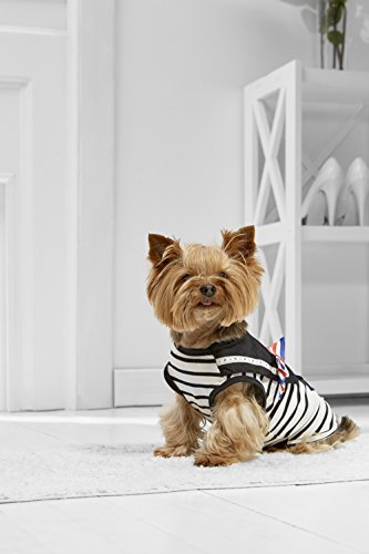Shirt Marine Dog (Toy Dog Marine Tank Top For Yorkie Maltese Chihuahua Pom Papillon Min Pin Silky (Small Toy Size, black, white))