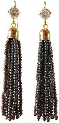 J shine Women Girl Created Crystal Dark Grey Tiny Beaded Tassel Earring GE607