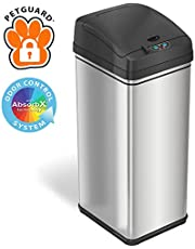 iTouchless 13 Gallon Pet-Proof Sensor Trash Can with AbsorbX Odor Filter Kitchen Garbage Bin Prevents Dogs & Cats Opening Lid, Stainless Steel plus PetGuard, Battery and AC Adapter (Not Included)