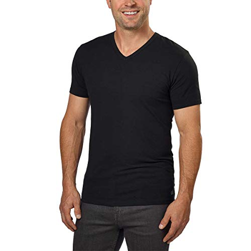 Calvin Klein Cotton Stretch V-Neck, Classic Fit T-Shirt, Men's (3-pack) (White or Black) (Black, Large)