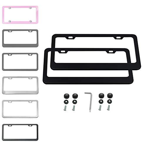 (Ibetter 2 PCS Thick Stainless Steel License Plate Frames, Car Licence Plate Holder Covers with Bolts,Washers and Chrome Screw Caps for US Standard (2 Holes Black))