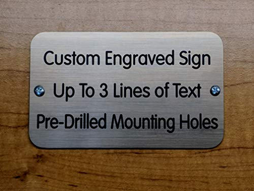 Custom Engraved 3x5 Sign with Mounting Holes + Screws | Brushed Metal Finish | Fence-Mount, Shed Garage Shop Garden Landscape Deck Built by Plaque Trophy (Brushed Bronze) ()