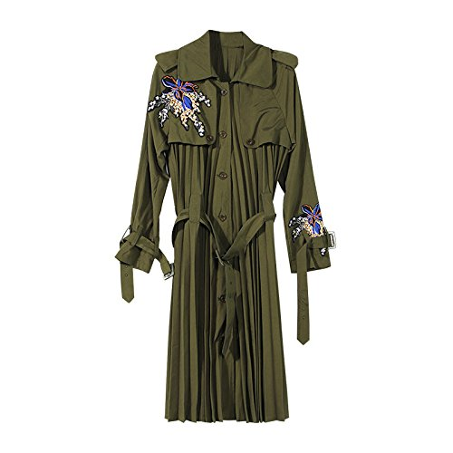 Xuanku Coat Embroidered Flat Extracting Leave Two Wild, Female Windbreaker. Long) Army Green