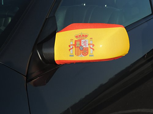Frenzy-flags Spain Flag for FIFA World cup 2018 for car Mirror Cover Stretchable material made by Spandex and polyester. Set of 2 flags.(Spain)