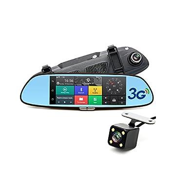 TOOGOO 7 pulgadas 3G Camara del coche DVR GPS Bluetooth de Lente dual Videograbador de espejo retrovisor Full HD 1080P Dash cam de Espejo DVR del automovil: ...