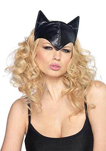 Feline Femme Fatale Mask Costume Halloween Bat Ears Face Cover One Size Womens (The Spirit Of Halloween Store Locations)