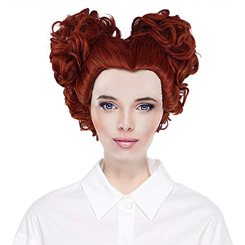 CrazyCatCos Hocus Pocus Winifred Sanderson Wig Red Brown Curly Hairs Halloween Costume Wig