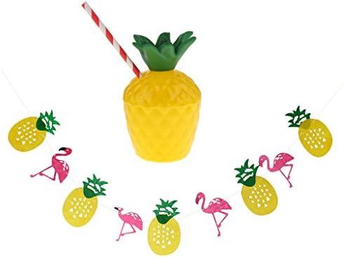 10個 ルアウ カップ ストロー + ビーチパーティー 装飾 パイナップル フラミンゴ バングニング