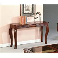 Brand New 50x18x29H Lydia Sofa Table w/ Glass Table Top-Cherry Finish