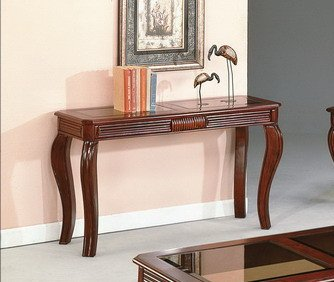 Brand New 50''x18''x29''H Lydia Sofa Table w/ Glass Table Top-Cherry Finish by Click 2 Go