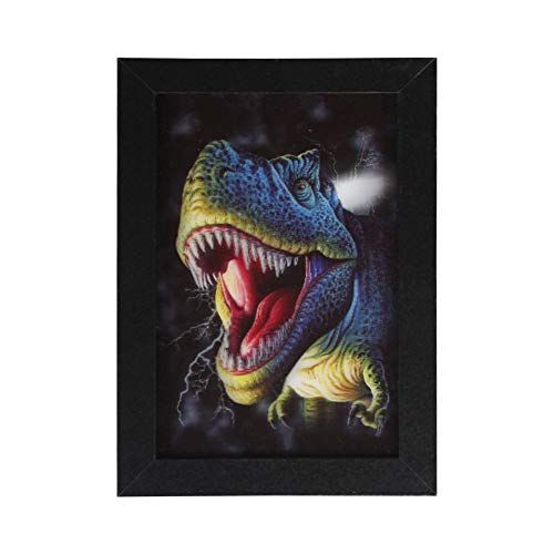 ur Lenticular Picture Holographic Pics Optical Illusion Animated Image Animal Poster with Frame, Modern Home Decor Artwork Party and Holiday Decorations (Dinosaur) ()