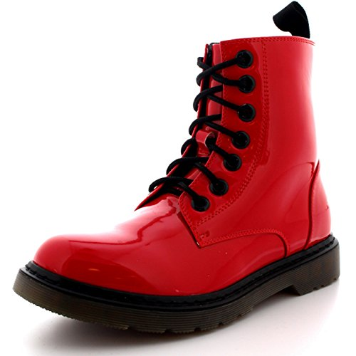 Viva Womens Flat Combat Miltary Army Goth Retro Vintage Rock Lace Up Boots