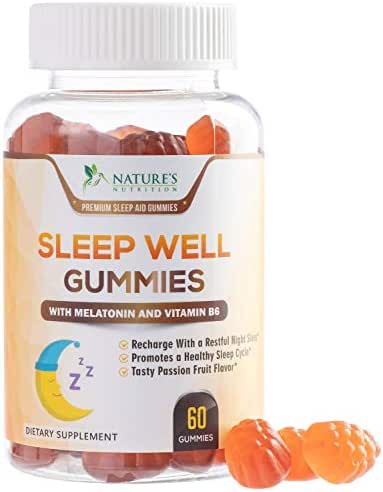 Sleep Aid Melatonin Gummies Extra Strength Sleep Gummy - All Natural Adult Sleeping Pills - Made in USA - Best Vegan Non Habit Forming Sleep & Stress Support Supplement - 60 Gummies