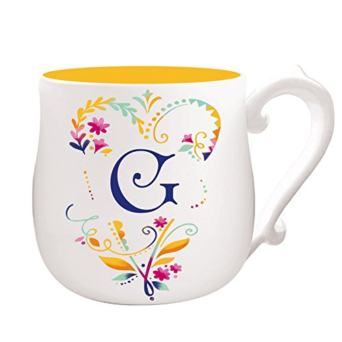Cypress Home Spring Floral Monogram Hand-Crafted Ceramic Mug, 12 ounces, in Letter G
