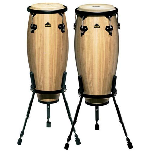 (Nino Percussion NINO910NT 9-Inch and 10-Inch Wood Conga Set with Stands, Natural Finish)
