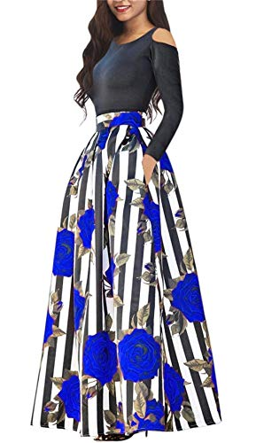 Symina Women's Two Pieces African Floral Print Maxi Dress A Line Long Skirt with Pockets