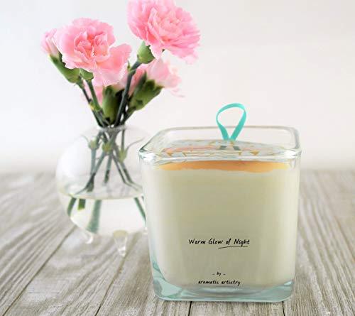 Premium All Natural Cleansing Aromatherapy Candle - Medium Square Votive - Warm Glow of Night - Clove, Cinnamon, Lemon, and Tea Tree