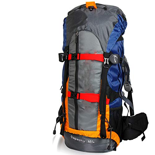 MOUNTBAG 60L Professional Waterproof Rucksack External Frame Climbing Camping Hiking Backpack Mountaineering Bag Orange 50-70L