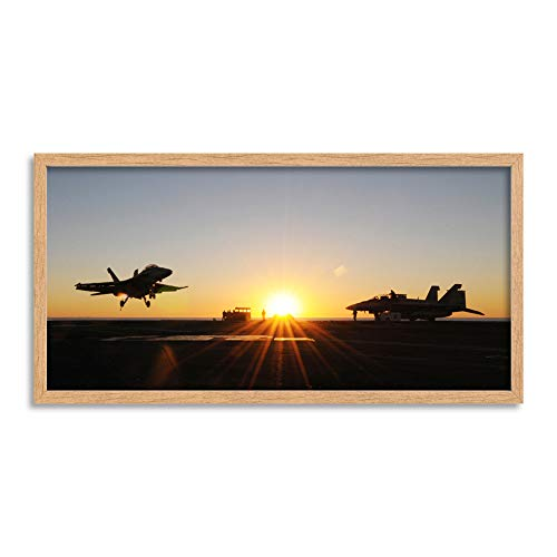 Military USA Navy FA-18E Super Hornet Jet Fighter Photo Framed Wall Art Print Long 25X12 Inch ()