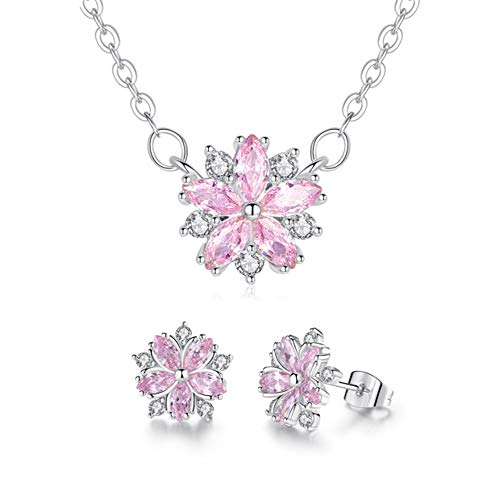 W.shdove Silver Plated Necklace and Earring Jewelry Set for Women. Chain Necklace with Crystal. (Pink Flower Necklace and Earrings)