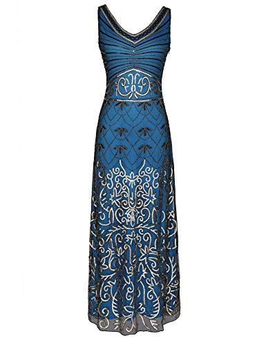 1920s Long Maxi Prom Gowns Sequin Mermaid Bridesmaid Formal Evening Dress V Neck Back (Blue, S)