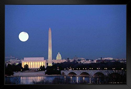 Washington DC Skyline at Night with Full Moon Photo Art Print Framed Poster 20x14 (Capitol Washington Dc Framed Art)
