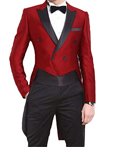 (Tuxedo Jacket with Tails for Men Costume Party Fashion Groom Suits for Wedding Red)
