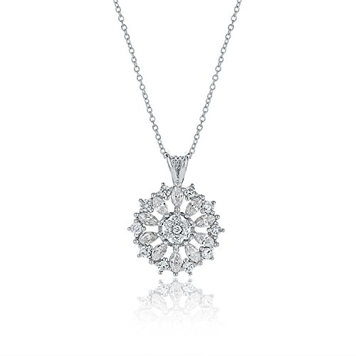 Montage Jewelry Women's Antique Snowflake Cubic Zirconia & Sterling Silver Pendant Necklace