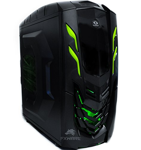 Fxware Viper Custom Gaming Desktop PC (4.0GHz Quad Core CPU Socket AM4, 2TB HDD, 16GB RAM, WiFi), Green