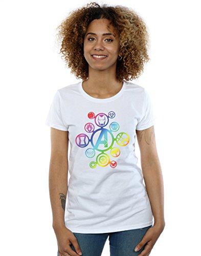 Marvel Avengers War Infinity Blanca Camiseta Icons Rainbow Mujer TfwBBgx